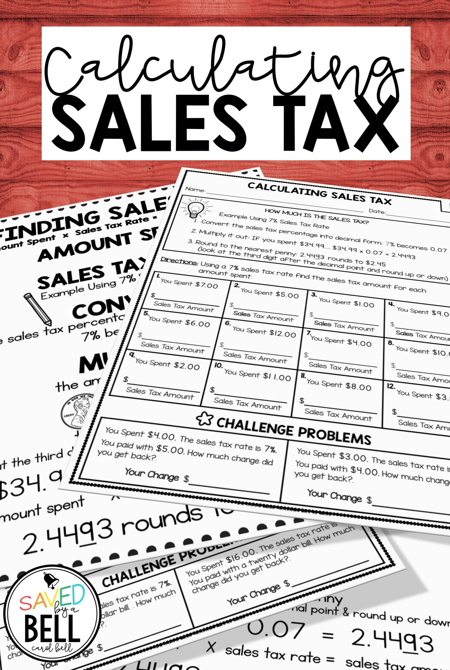 Practice Real World Math With These Sales Tax Worksheets Created For 4th 5th 6th 7th And Homescho Money Math Worksheets Consumer Math Life Skills Classroom