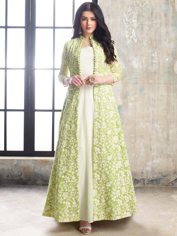 Shop Gorgeous Green Color Cotton Silk Floor Length Anarkali Salwar Suit Online From G3fas In 2020 Kurti Designs Party Wear Indian Gowns Dresses Designer Dresses Indian
