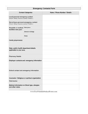 pandemic emergency contacts form printable medical form free to