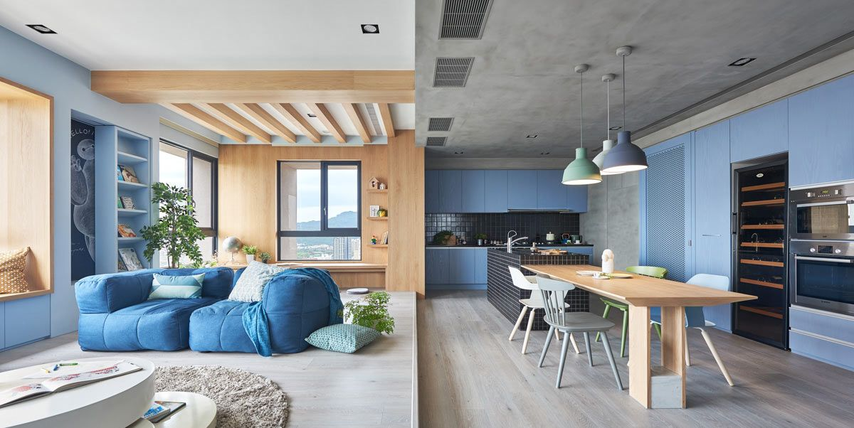 A young couple hired hao design to design a modern apartment that was a colorful place