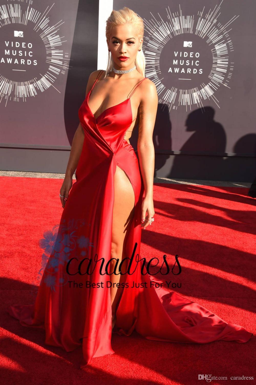 New Fashion Backless High Thigh Split Evening Dresses Rita Ora Sexy Red  Carpet Dresses V-neck Spaghetti Strap Celebrity Dresses J1615 4c9f2f70d