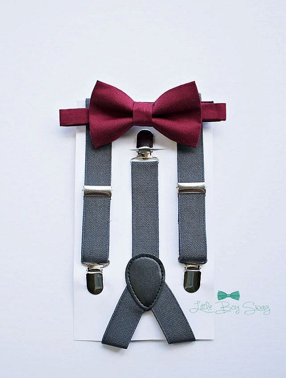 3c48e97cacb8 Boys Bow Tie Suspenders, Burgundy Wine Bow Tie, Rustic Wedding, Baby Boy  Bow Tie, Ring Bearer, Cake Smash, Boys Clothes, Boys First Birthday