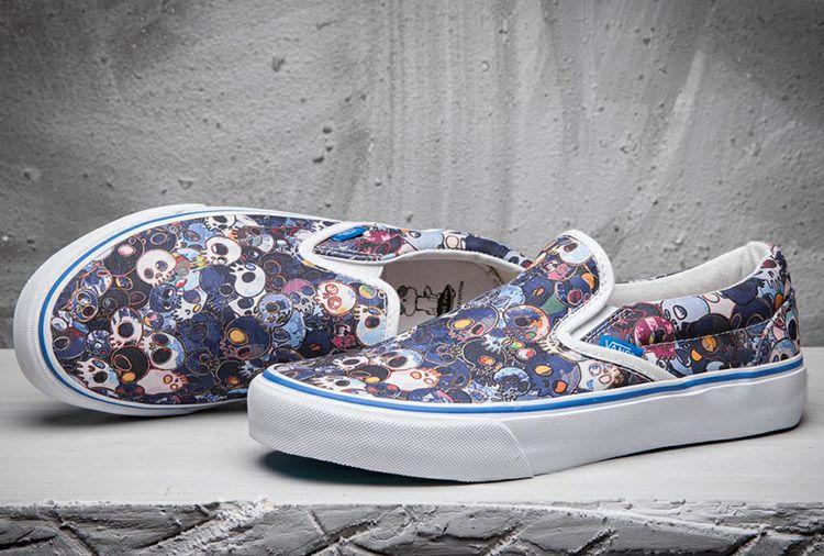 945b9d27ab Vans Classic Slip-On LX Skull Blue Murakami Takashi Skateboard Shoes  Vans
