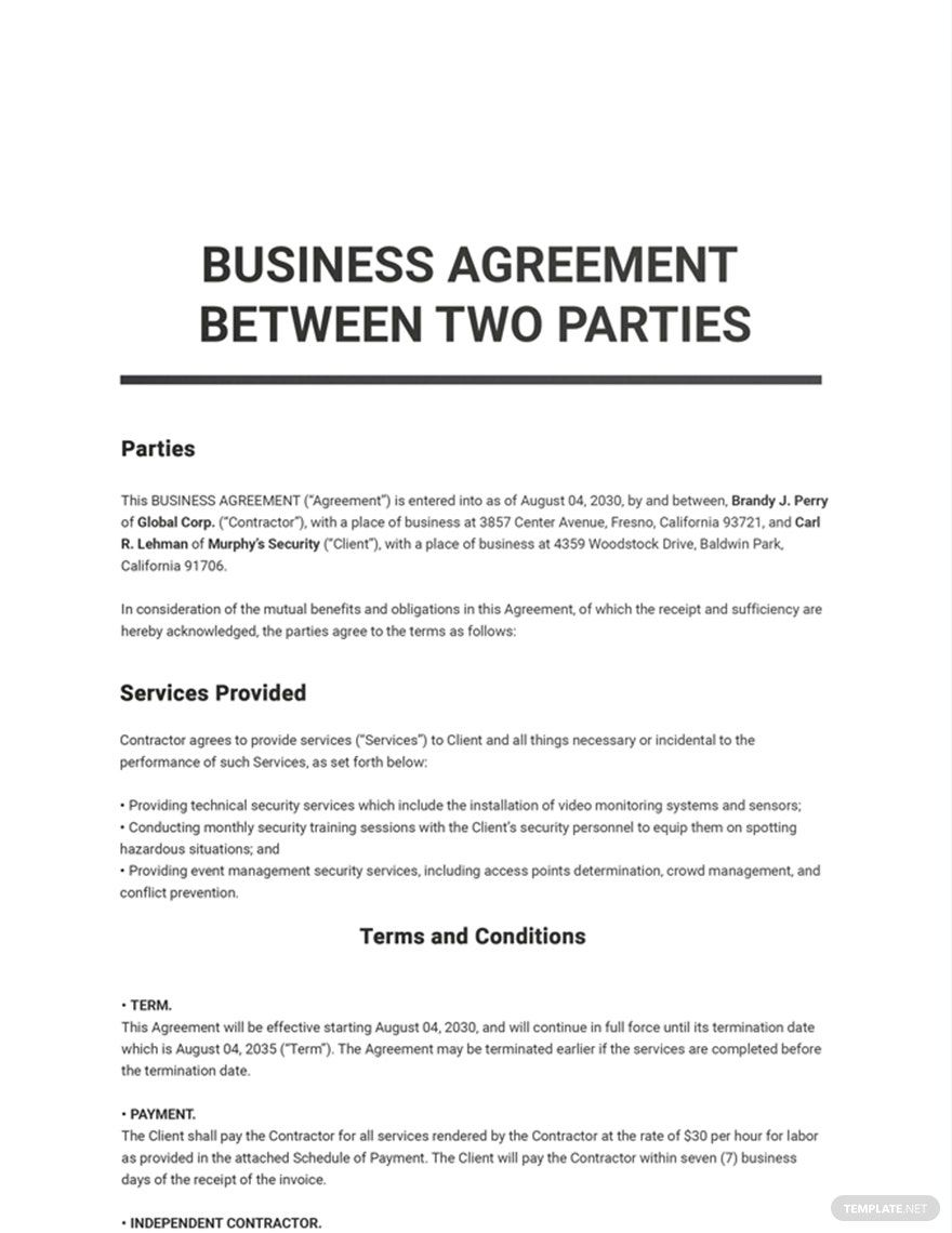 Free Business Agreement Between Two Parties Template Google Docs Word Apple Pages Pdf Template Net Contract Template Agreement Word Doc