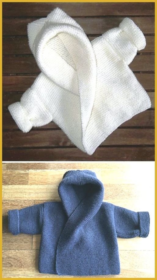 Photo of Baby Hooded Wrap Cardigan – Knitting Pattern