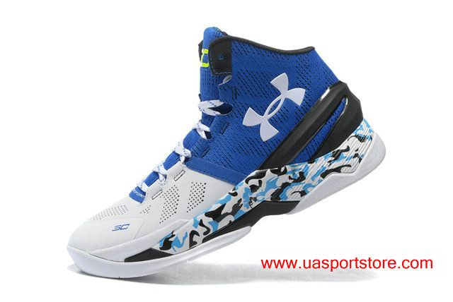7fcc73a28fd2 Men s UA Curry 2 White Blue Camo Bottom Under Armour Basketball Shoes