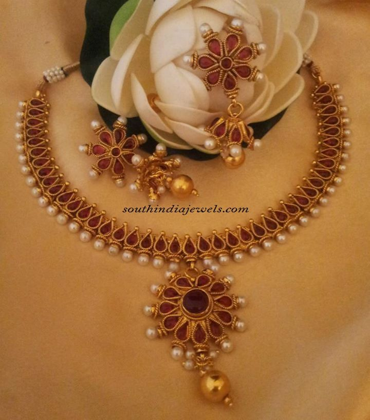 Red Imitation jewellery necklace set with price | Imitation ...