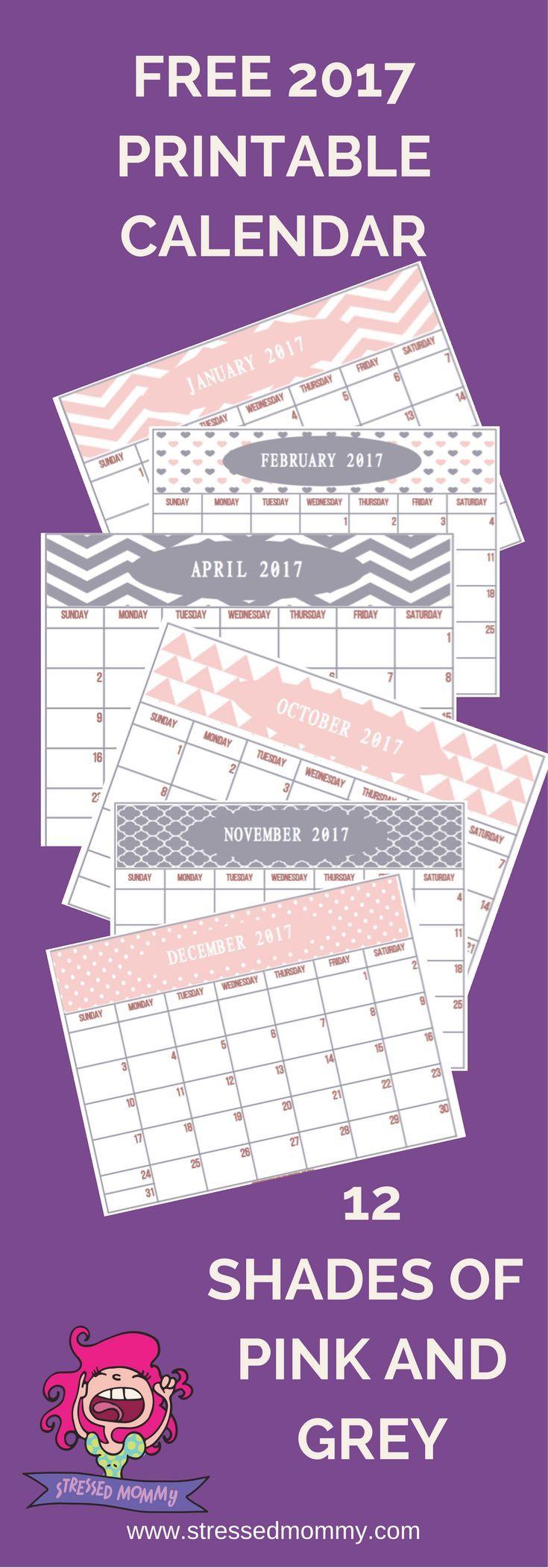 Free  Printable Calendar   Shades Of Pink And Grey  Free