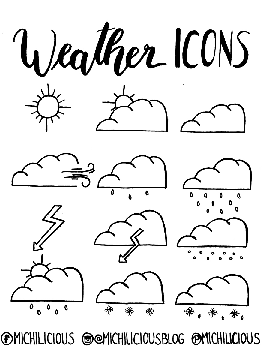 Photo of {doodle with me} Weather icons for your calendar + FREEBIE – easy to brush – simple hand lettering for everyone!