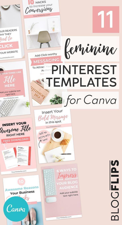 10 Feminine Pinterest Templates for Canva + BONUS Freebie