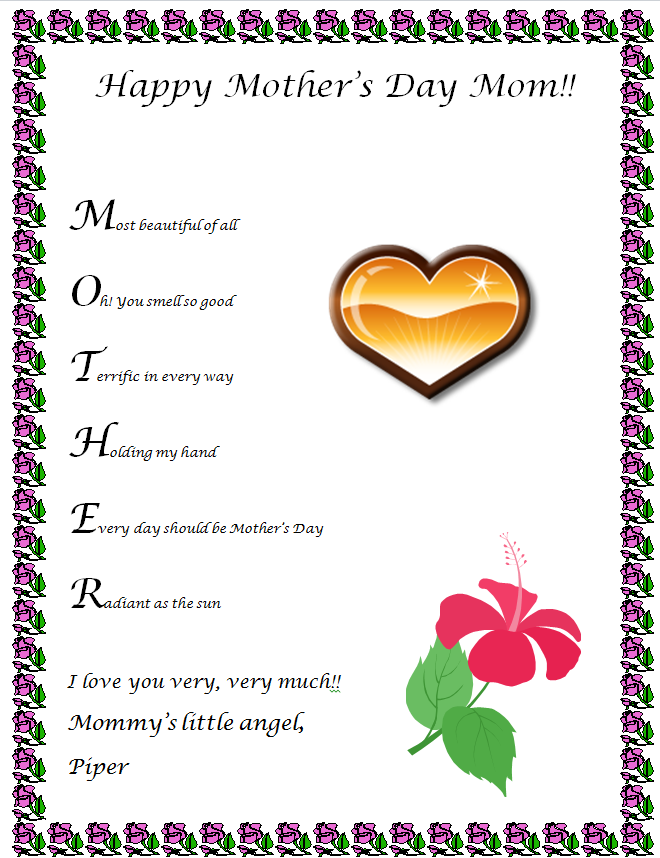 Mothers Day Acrostic Poems 1