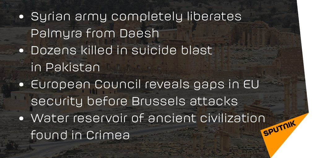 #CatchUp with today's #trending stories: #Palmyra, #LahoreBlast, #BrusselsAttacks & more at https://t.co/yCdajEBGS3