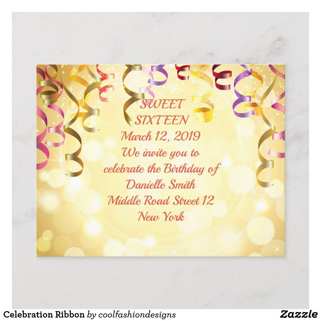 Celebration Ribbon Announcement Postcard | Zazzle com