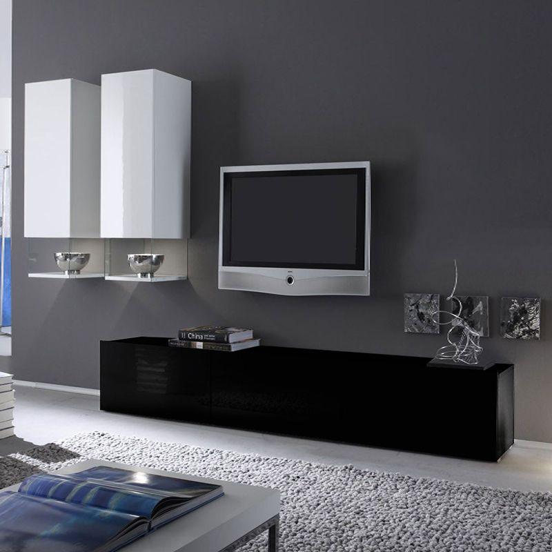 Ensemble meuble tv noir et blanc laqu design six ensemble de meubles tv meuble tv noir - Meuble tv gain de place ...