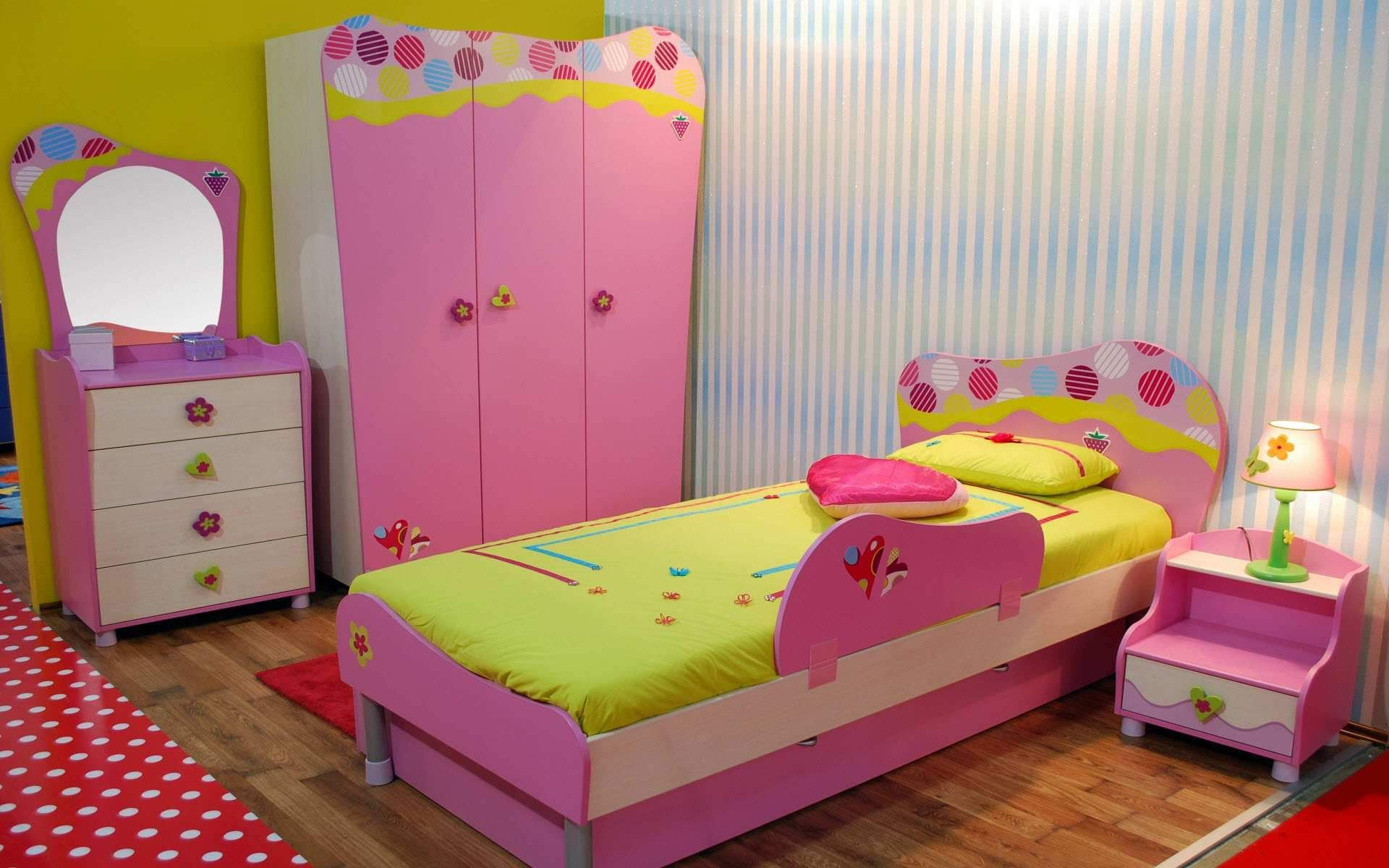 Colorful Yellow And White Themed Kids Room Paint Ideas With Cute Pink Wood  Bed Frame On The Brown Wood Flooring That Have Yellow Bedding And Simple  Pink ...