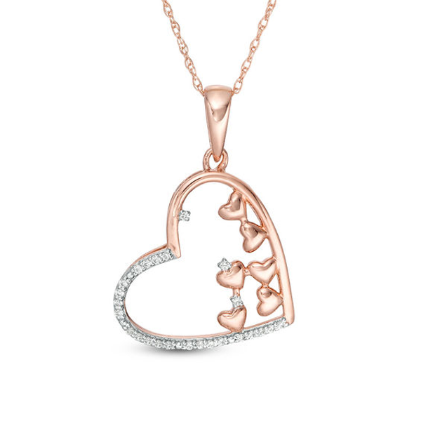 1 10 Ct T W Scattered Diamond Tilted Heart Outline Pendant In 10k Rose Gold In 2020 Heart Jewelry Pendants Heart Outline