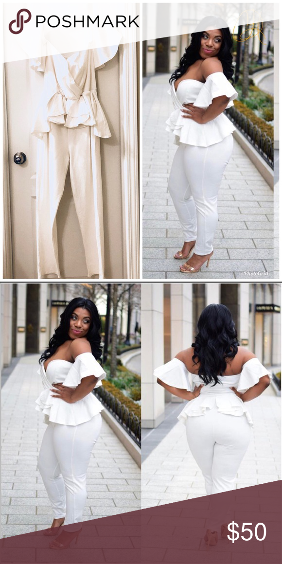Photo of White plus size, off shoulder, peplum jumpsuit Great option for a sexy Valentine…