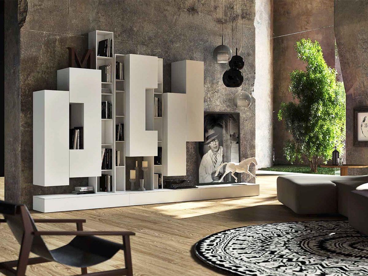 soggiorno con libreria bianco arredissima soggiorni