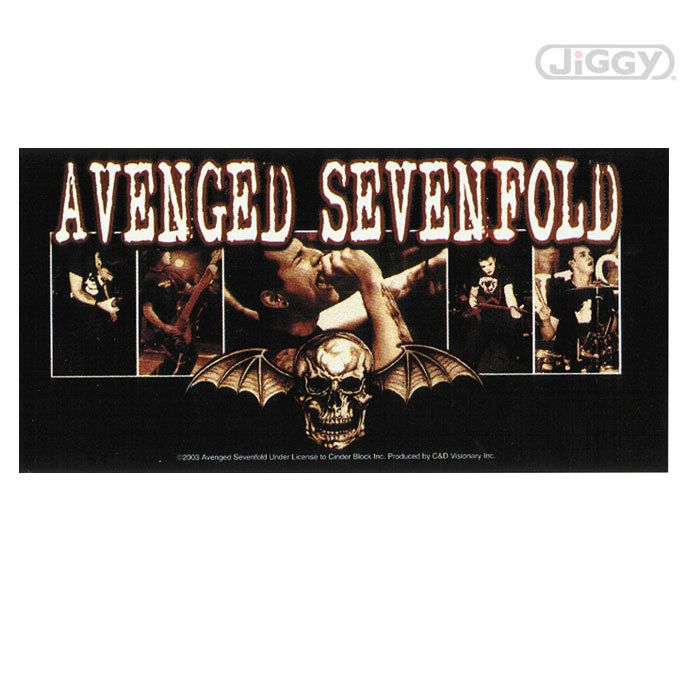 Avenged sevenfold sticker features each member of the band above the death bat logo full