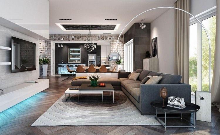 modernes Design und indirekte Beleuchtung fürs Wohnzimmer in Grau ...
