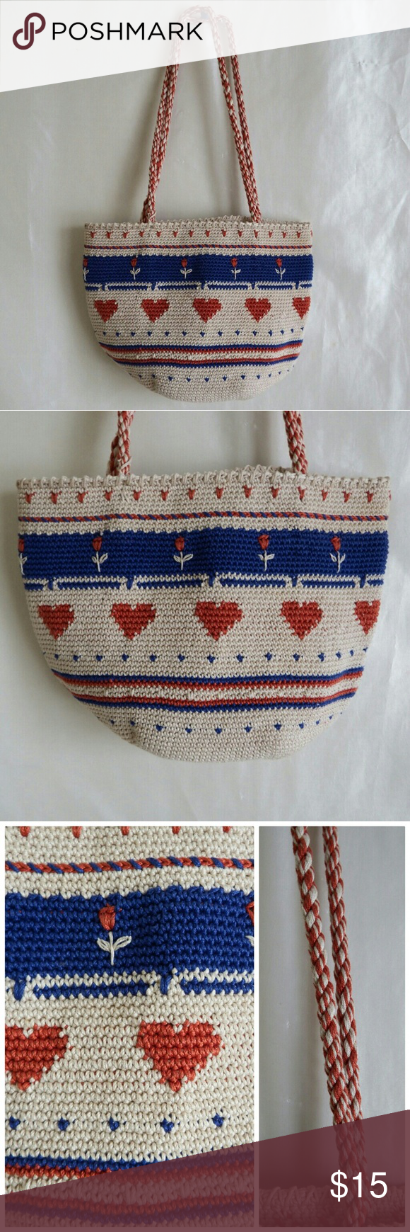 """Crochet Love Bag Sweet crochet bag in tightly woven cotton with hearts & roses detail. Woven handles.  Natural color with blue & red.  Perfect casual bag for a beach outing or 4th of July picnic. 12"""" W x 8"""" H x 8"""" D Custom Bags"""