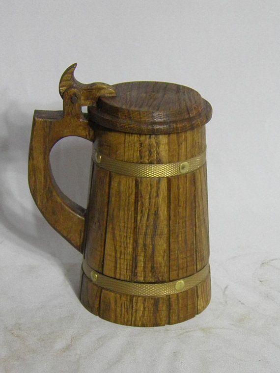 Wooden Beer mug 0.7 l 23ozCustom engraving by UkrainianSouvenir