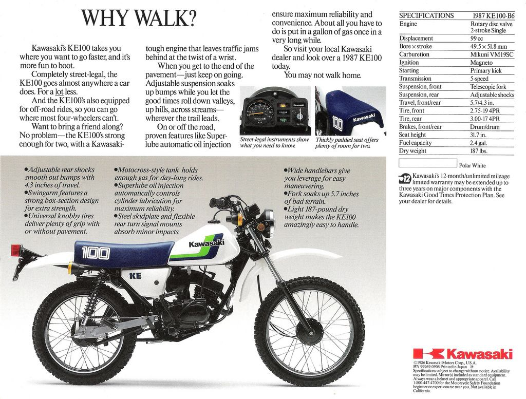 Scan of the back side of the sales brochure for the 1987 Kawasaki KE100  dual purpose motorcycle.