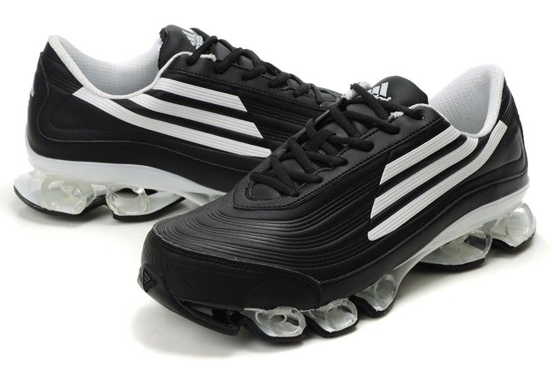 Black � Adidas Bounce Titan Leather Mens Black White Running Shoes ...