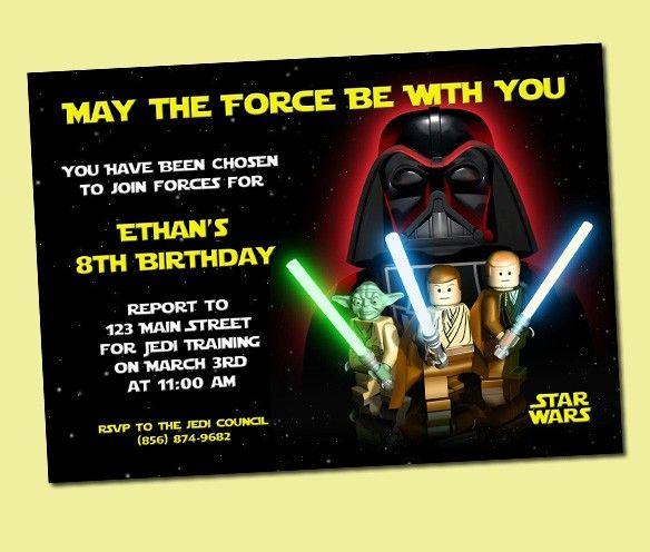 Star Wars Invitations Printable Birthday Card Space Derby