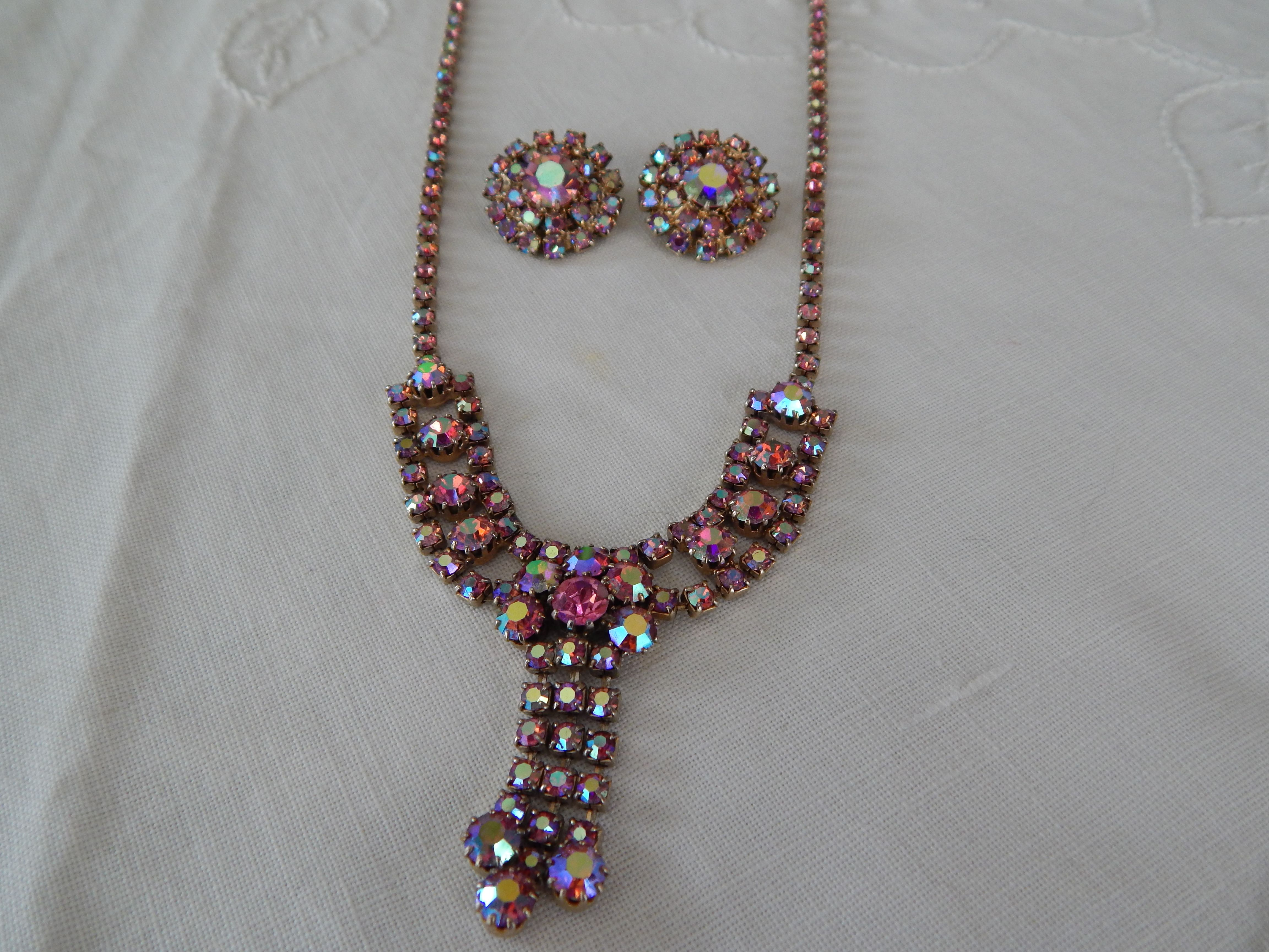 Vintage Rhinestone Necklace & Clip On Earrings Set $18 shipped