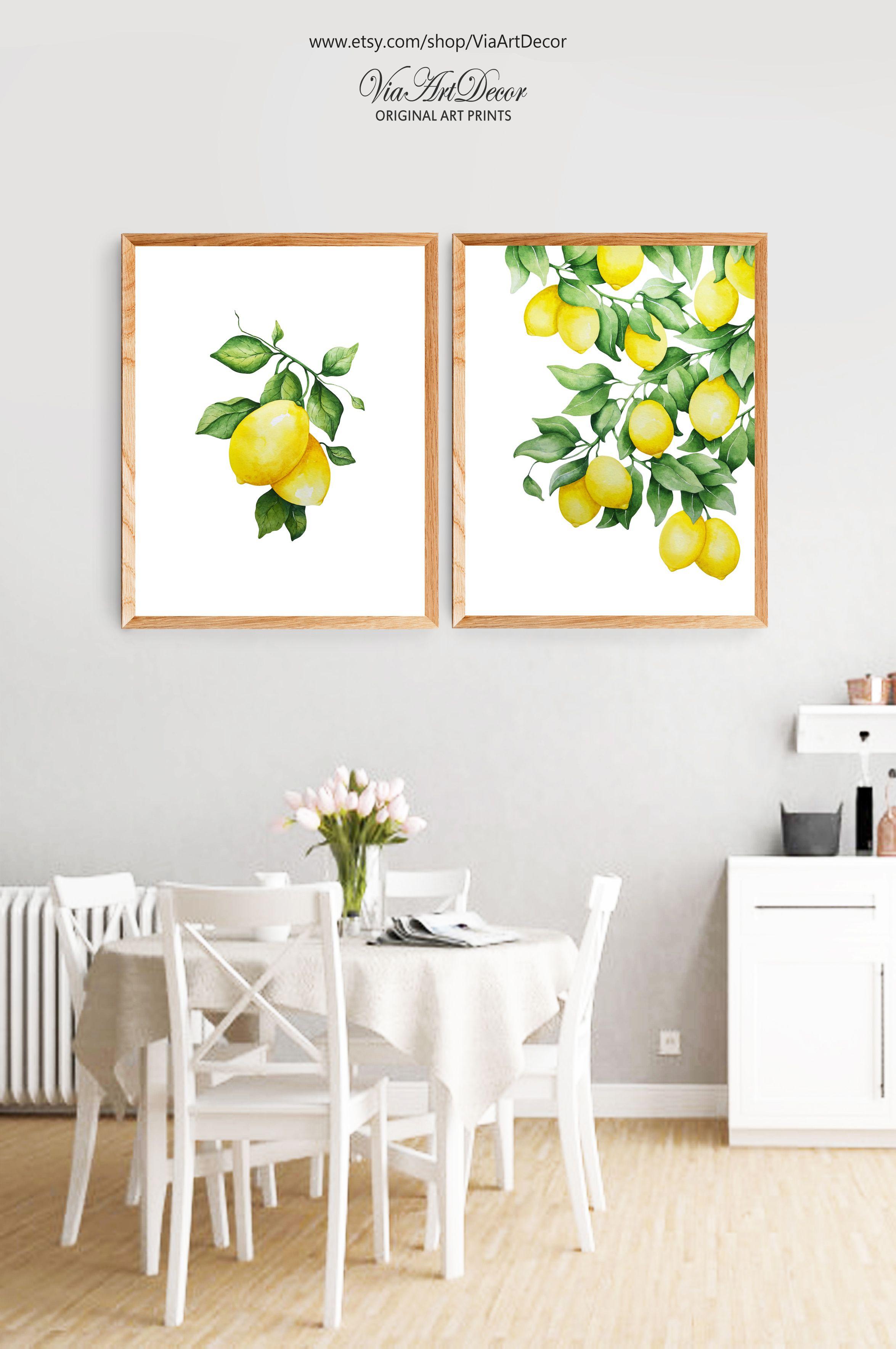 Lemons Wall Art Print Set Of 2 Yellow Fruit Watercolor Artwork Etsy Dining Room Kitchen Printables