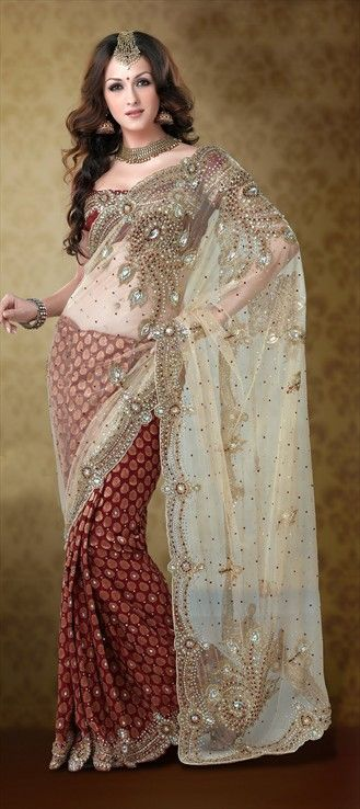 Photo of 79794: Red and Maroon, White and Off White color family Saree with matching unstitched blouse.