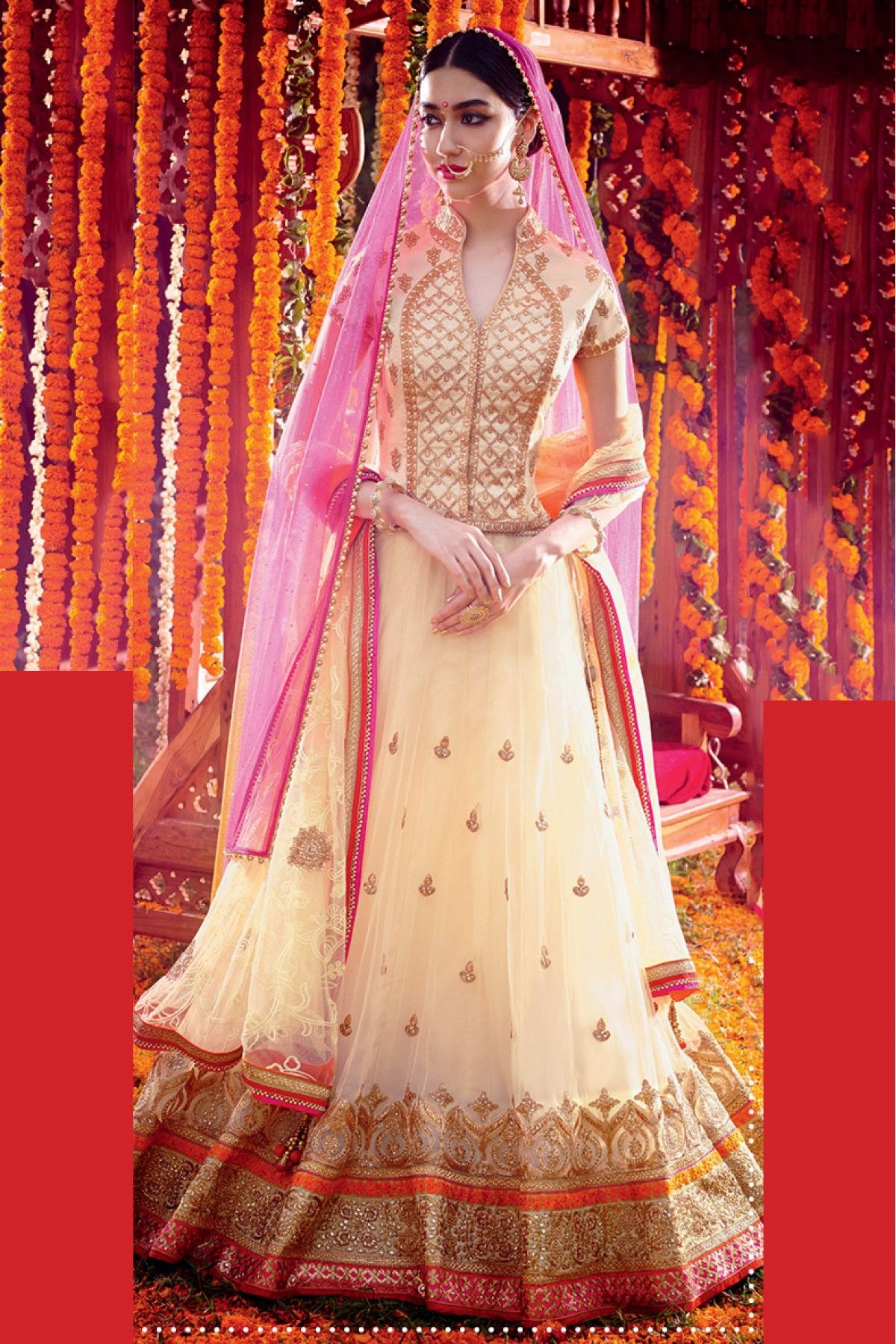 f3d6132adff72b Georgette Semi Stitched A-Line Lehenga Choli In Off White and Pink Colour