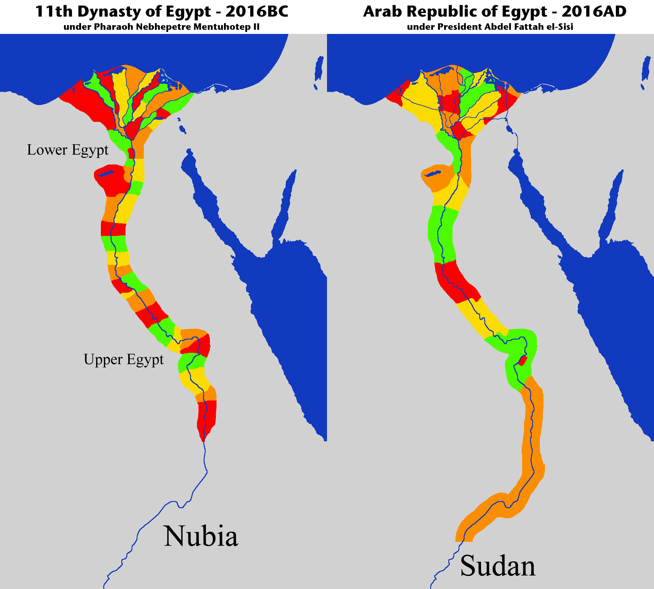 Divisions Of Ancient Egypt Compared To Now By Qoja Map