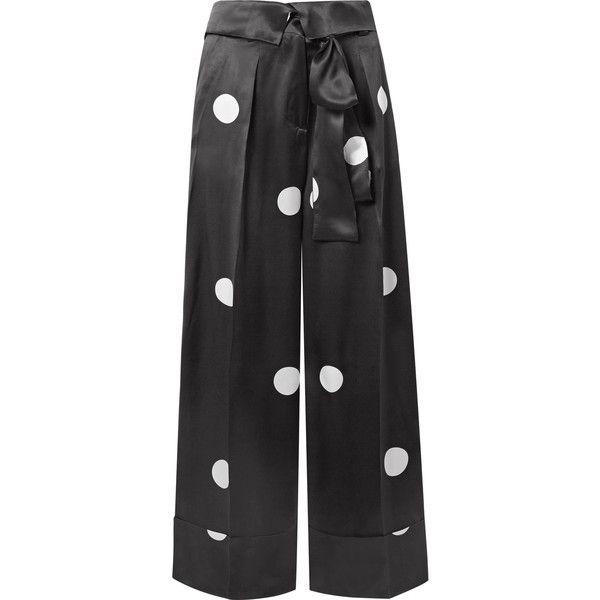Hester Polka-dot Silk-satin Wide-leg Pants - Black Petar Petrov cNgwl