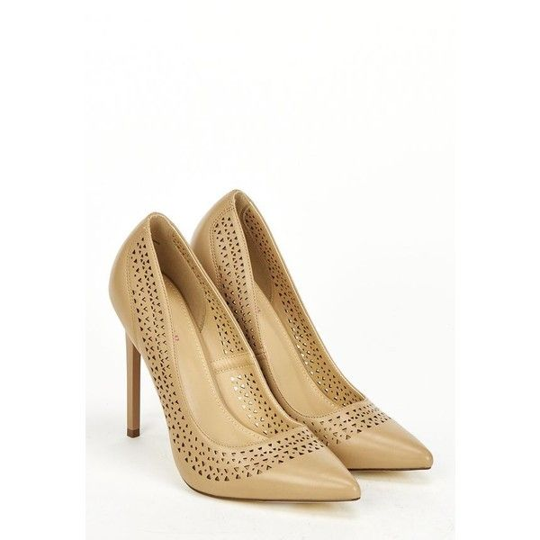Justfab Pumps Anelia (52 CAD) ❤ liked on Polyvore featuring shoes, pumps, apparel & accessories, beige, pointy toe high heel pumps, platform pumps, beige pointy toe pumps, justfab shoes and high heel shoes