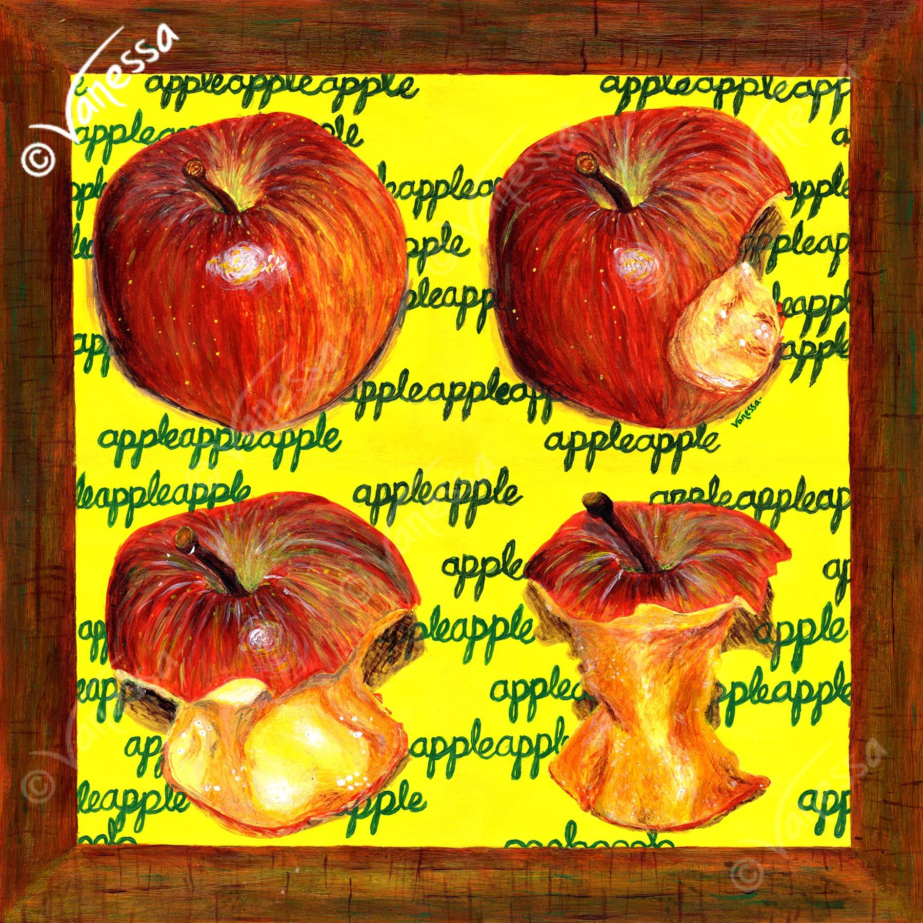 "The painting is entitled ""AN APPLE A DAY"" pleted in March 2010"