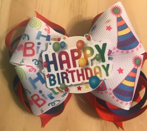 Happy Birthday 1st Balloons Stacked Boutique Ribbon Hair Bow Clip