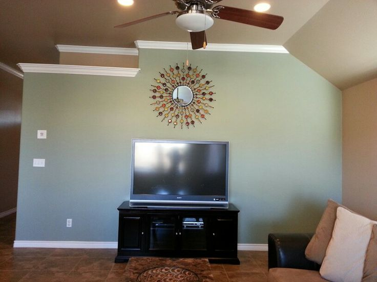 awesome green paint color for accent wall living room | Valspar Green Tea Leaves with grey not brown | Home ...