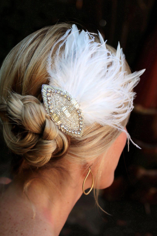 hanna- stunning feather fascinator with rhinestone accent