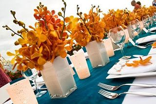 Color mix ::: Orange + Turquoise with white