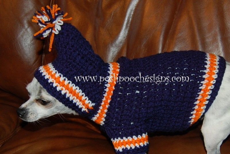 Posh Pooch Designs Dog Clothes: Crochet Pattern - Sports Team Dog Hoodie - Pre-Sale!!!!