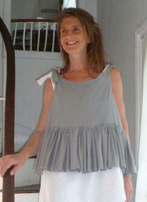 N37.7:) SHIFT.top.skirted.grey.short length.double layered linen mix. HALL-HARRIS designed & handmade.