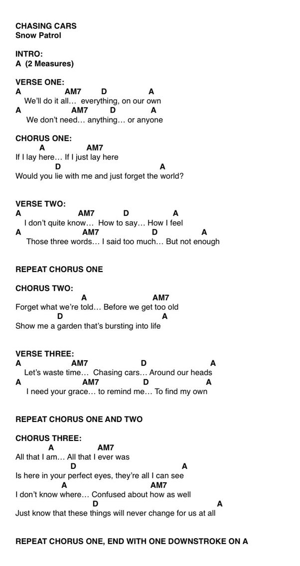 Chasing cars - ukulele | Just me and my ukelele | Pinterest ...