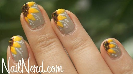 Yellow Sunflower 3D Nail Art on Yellow French Nail Tips with ...