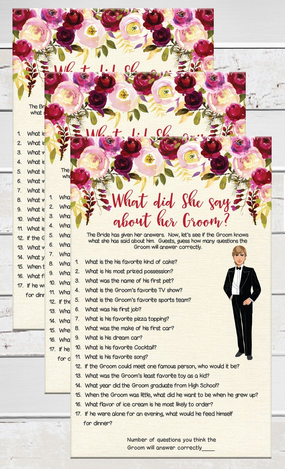 Red What Did She Say Bridal Shower Game Red Floral Theme Groom