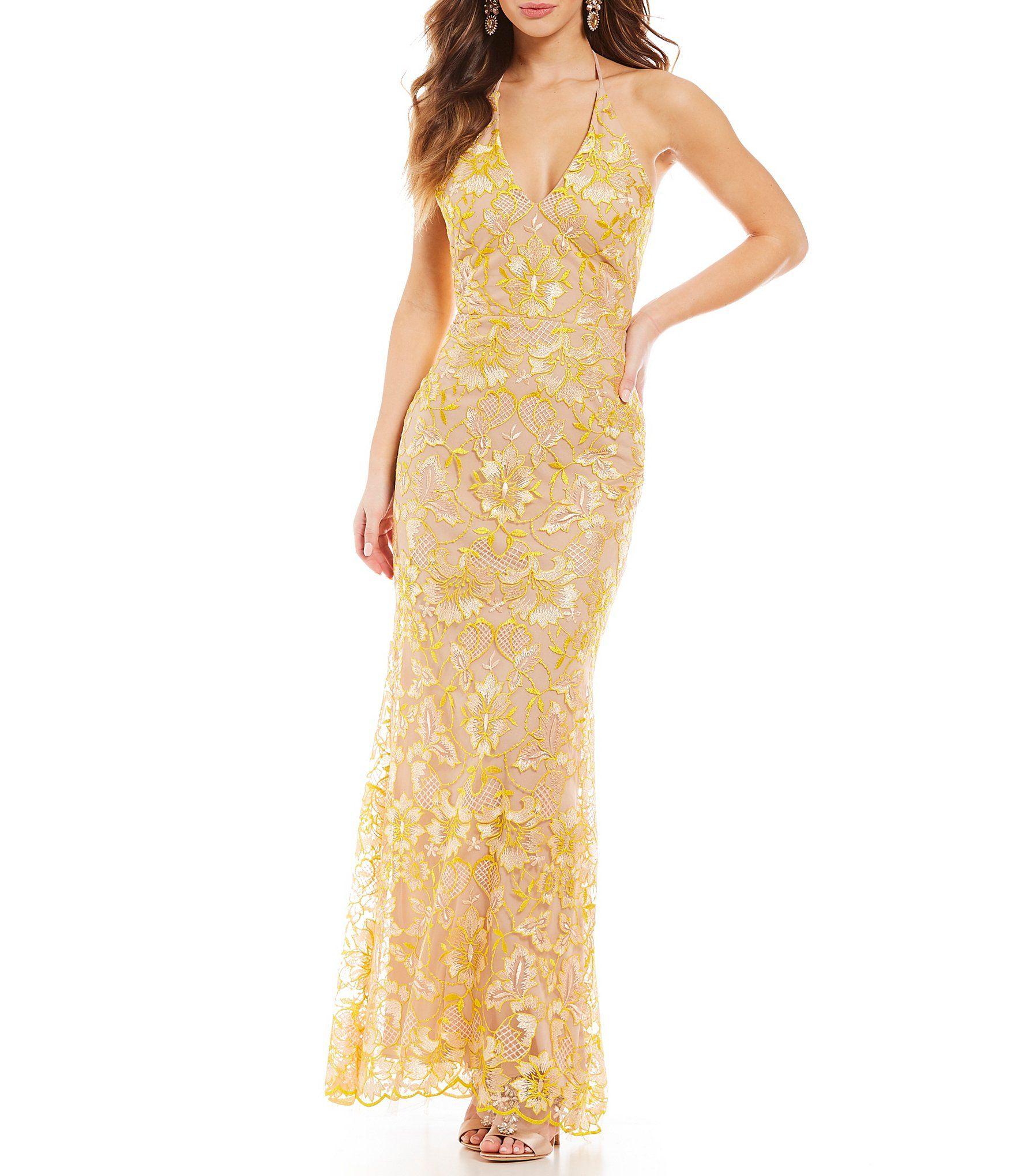 Gb social halter neck floral lace gown pinterest halter neck
