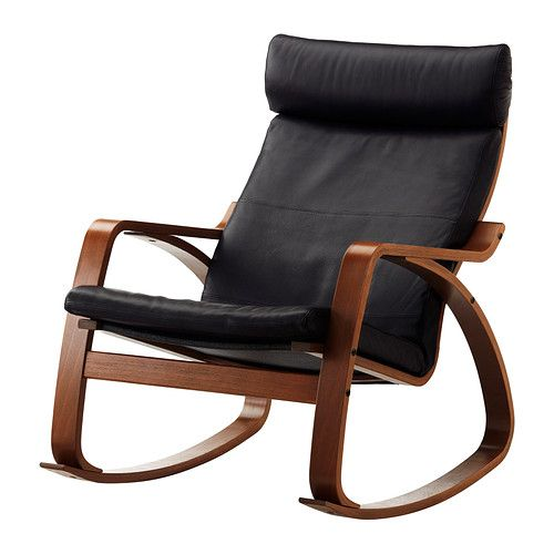 IKEA   POÄNG, Rocking Chair, Glose Black, Medium Brown, , The Frame Is Made  Of Layer Glued Bent Beech Which Is A Very Strong And Durable Material.