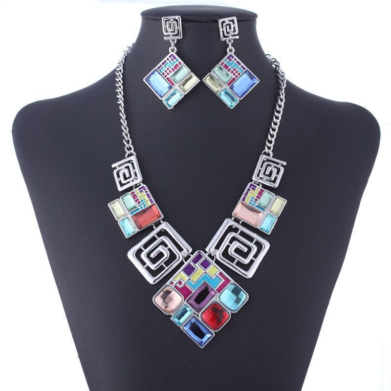 Nickle Free Geometric Squares Women's Jewelry Necklace & Earring Set
