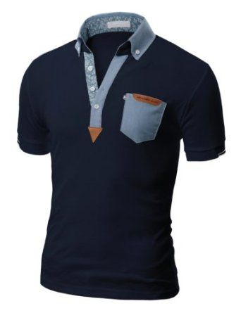 Doublju Mens Polo T-shirts with Short Sleeve - chambray & suede detailing
